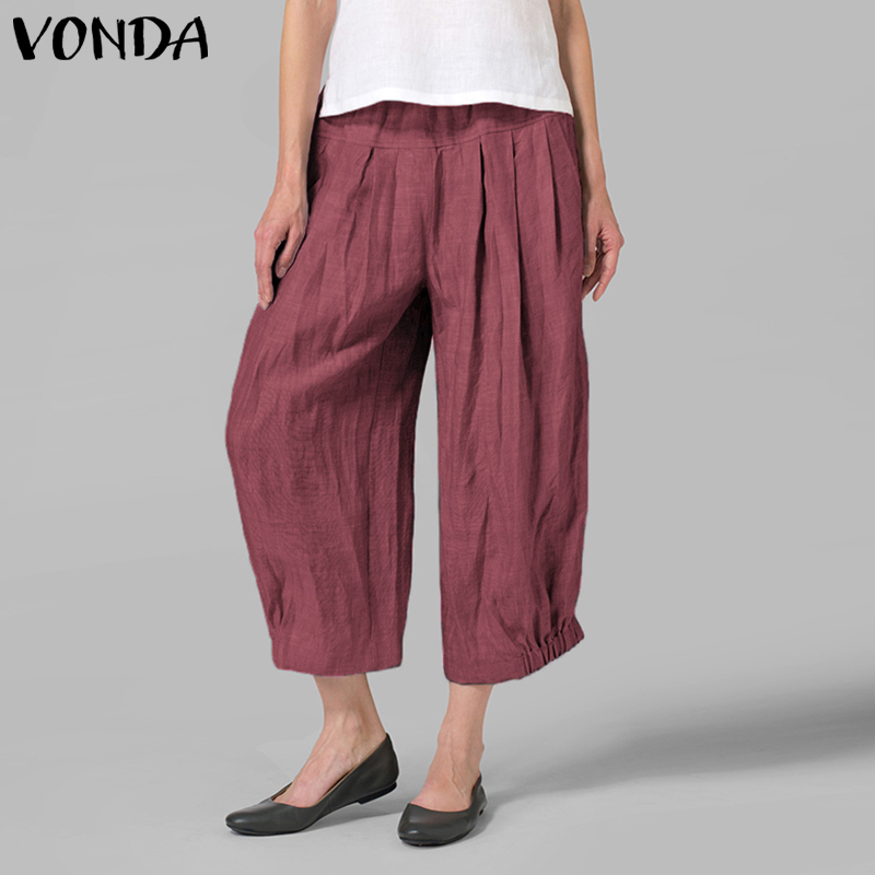 VONDA Women Casual   Wide     Leg     Pants   2019 Autumn Summer High Waist Harem   Pants   Solid Oversized Trousers Plus Size Vintage Bottoms