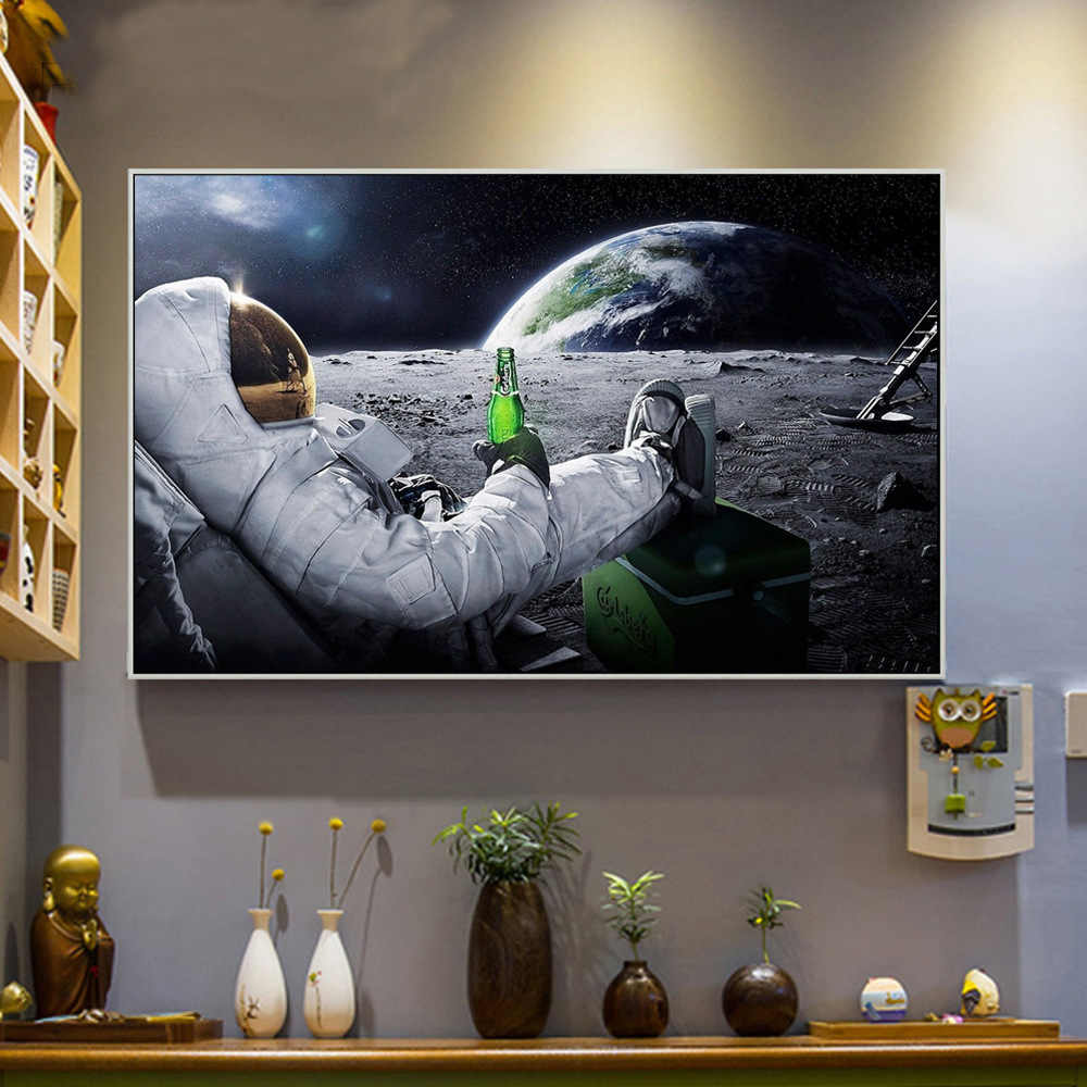 Wall Art HD Printed Canvas Painting Beers Outer Space Earth Astronauts Relaxing Moon Cuadros Poster Wall Pictures For Home Room