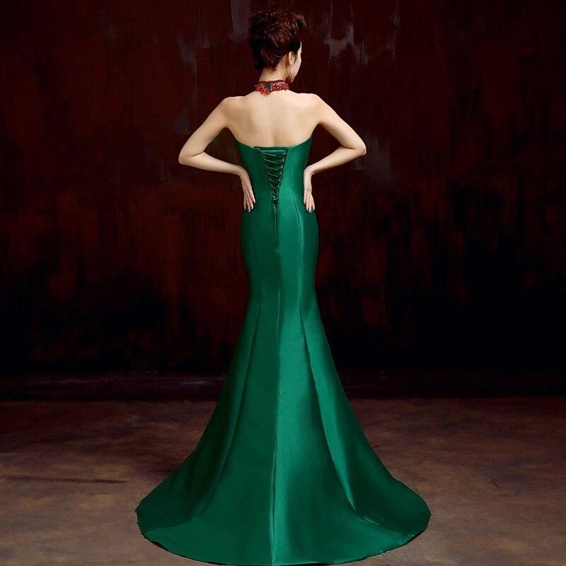 zelena saten beaded zavoj sirena od ramena dugo kineski cheongsam - Nacionalna odjeća - Foto 3