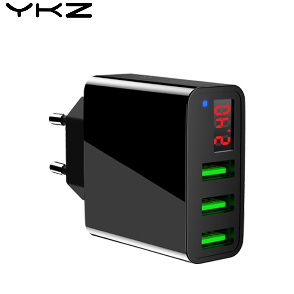 YKZ USB Charger 3 Ports+LED Display Portable Phone Chargers USB Charging Travel Adapter For iPhone X 8 For Samsung S8 R30