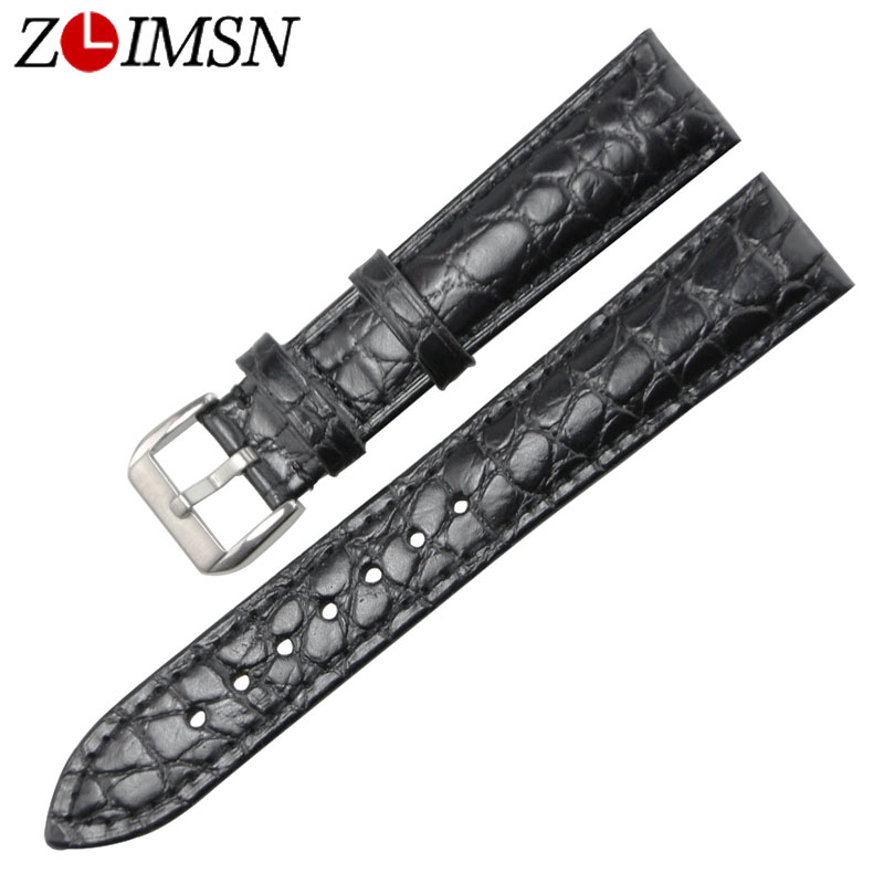 ZLIMSN black brown genuine leather watch band 18mm 20mm strap men's and women's replacement accessories watchband genuine leather watchband 20mm black brown replacement leather wristband for garmin vivomove apac strap