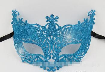 100x Blue halloween mask make-up mask dance half face Venetian mask rhinestone sequins lily princess party dress up props new