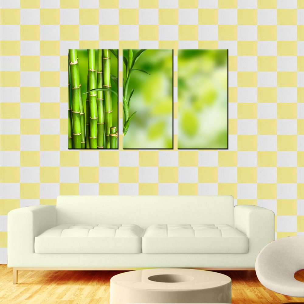 Wall Art For Home Decoration Green Bamboo Pictures Prints Modern ...