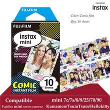 Fujifilm instax mini filme comic 10 folhas, para instax mini 9 8 7s 7c 70 90 25 polariod instantâneo impressora sp2 1 para câmera e smartphone