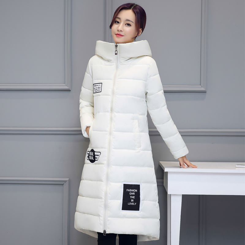 Long Down Parkas For Women 2017 Warm Winter Jackets And Coats With Letter Pockets Thickening Cotton Padded Hooded Female Outwear цены онлайн