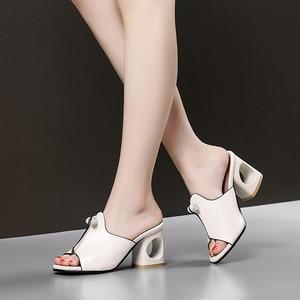 Image 5 - Smirnovaプラスサイズ 34 48 ファッション夏新靴女性の正方形のハイヒールの靴女性カジュアルサンダル女性 2020 夏の靴