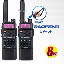 2 piezas Baofeng UV-5R-HG 8 W Walkie Talkie Tri-Power 3800 mah 10 km Doble banda 10 KM poderoso radio de 8 W de largo alcance para senderismo CB uv5r(China)