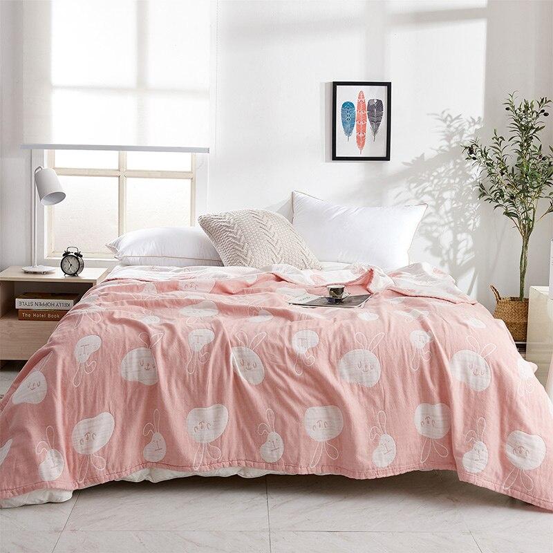 IDouillet belle lapin motif doux coton mousseline couverture jeter adulte lapin mince couette couverture enfants bambin couvertures double complet