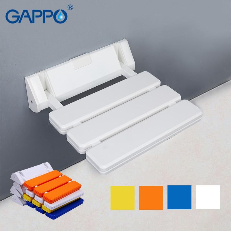 OKAROS White Yellow Folding Wall Mounted Shower Seats Bench Shower ...