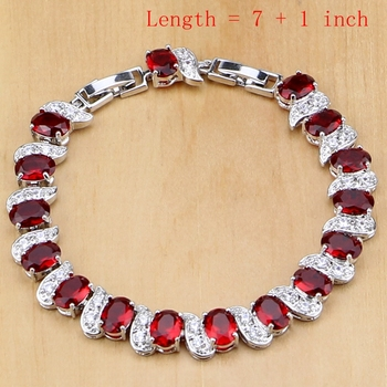 Natural 925 Sterling Silver Jewelry Red Birthstone Charm Jewelry Sets 1