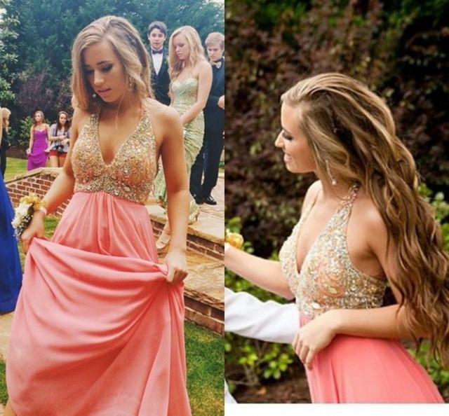 f3c0d92a76 2016 Blush Pink vestidos para invitados de boda Vintage ver a través Halter  moldeado cristalino Weddibng