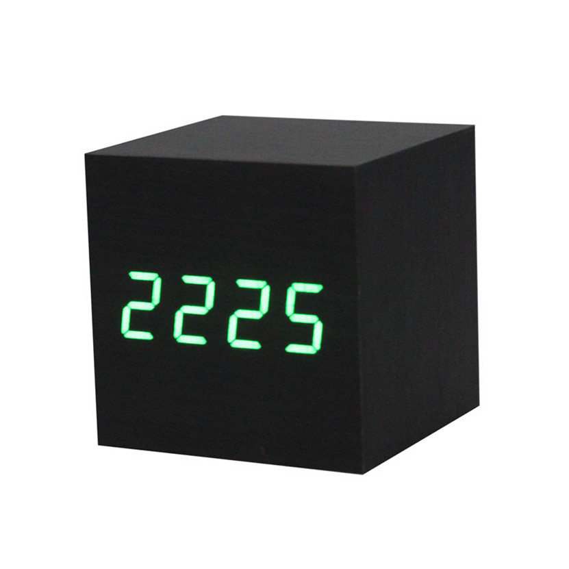 hot sale item 2017 wonderful Digital LED Black Wooden Wood Desk Alarm Brown Clock Voice Control #0815 C