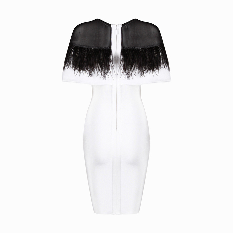 Blanc Bandage Mini 2017 Automne Nouvelle Robes Party Plumes Celebrity Arrivée Haute Robe Qualité Femmes Clubwear qUSwXvZv