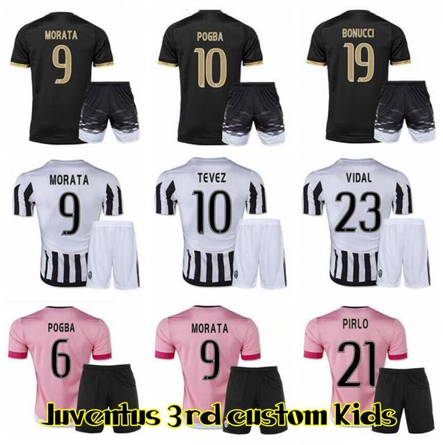 5c7489f1d92 New 2015 2016 Juve POGBA Child Football Soccer Jersey 2016 soccer jerseys  Tevez VIDAL PIRLO MARCHISIO Jersey kids