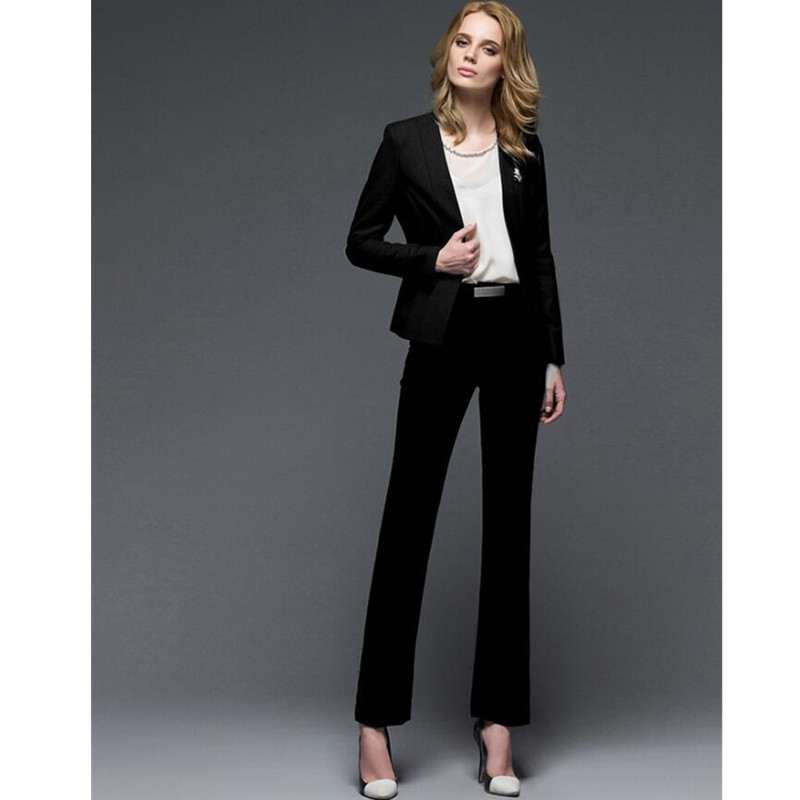 Women Pant Suits 2 Piece western style formal business suits OL suits long-sleeved two-piece blended women Custom Made