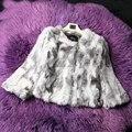 QUEENFUR Moda Conejo Natural Chaqueta de Piel Para Las Mujeres Caliente de Piel de Conejo Real de Prendas de Vestir Outwear Nueva Piel de Conejo Auténtica Capa Corta