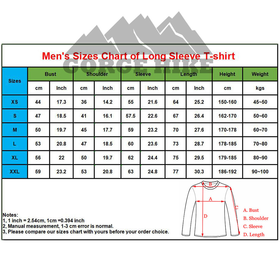 details of mens size chart long sleeve