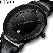 CIVO мода простой мужские водонепроницаемые часы пояса из натуральной кожи кварцевые наручные часы для мужчин Дата календари мужские повседневное Reloj Hombre