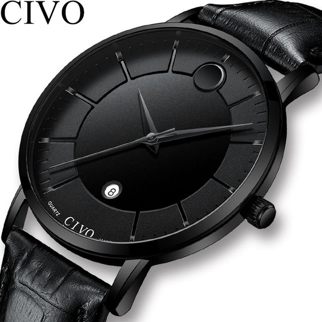 CIVO Fashion  Simple Mens Watches Waterproof Genuine Leather Quartz Wrist Watch For Men Date Calendar Gents Casual Reloj Hombre