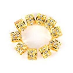 Для женщин девочек аксессуары для волос 10 шт./компл. горный хрусталь плетение волос кольца выдолбленные косы шарики клипы манжеты
