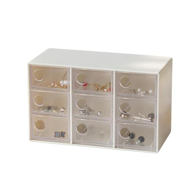 Mini Jewelry Drawer Organizer With 9 Drawers Art Crafts Storage Box Hair  Pins Clips Container Office