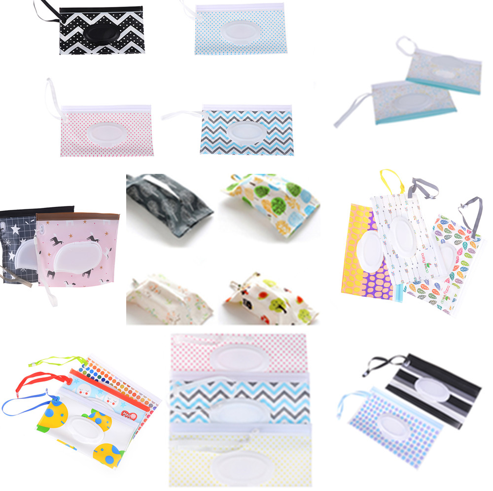 Eco-friendly Easy-carry Clutch And Clean Wipes Carrying Case Clamshell Cosmetic Pouch Snap-strap Wipes  Container Wet Wipes Bag