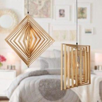 Скандинавские Твердые геометрические алмазы подвесной светильник droplight кафе ресторан личность балкон татами Деревянный бар
