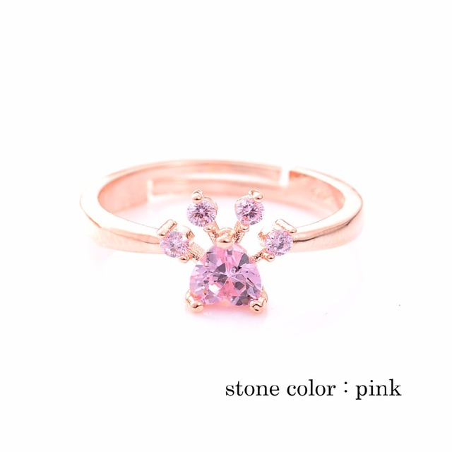 Fashion Paw Patterned Crystal Ring