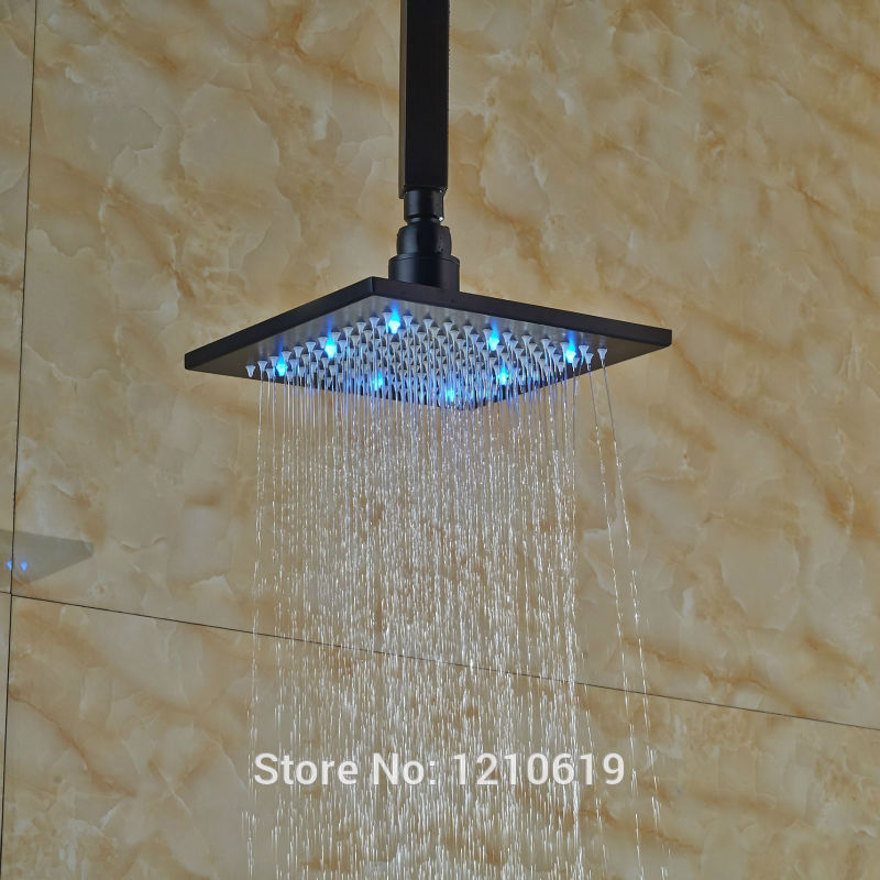 Newly Oil Rubbed Bronze Top Shower Head w/ Ceiling Mount Arm LED Lights 8 Spray