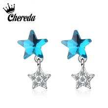 Chereda  Star Stud Earring for Women Full Crystal Style Earrings Party Christmas Gifts