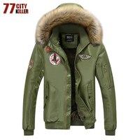 77City Killer Mens Thick Warm Winter Coat Fur Collar Army Green Men Parka Large Size Coat Jacket Parka Male Outerwear P0907
