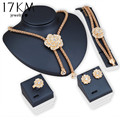 17KM 2016 Brand New Big Flower Choker Necklace For Women Crystal Earrings Statement Jewelry Set  Bead Maxi Wedding Accessories