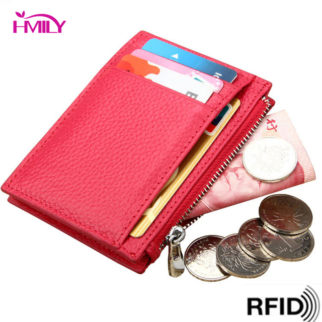 cb675564aa2 HMILY Card Wallet Women   Men Genuine Leather Card Case RFID Blocking Card  Holder Fashion Slim Dollar Clip Credit Card Coin Bag