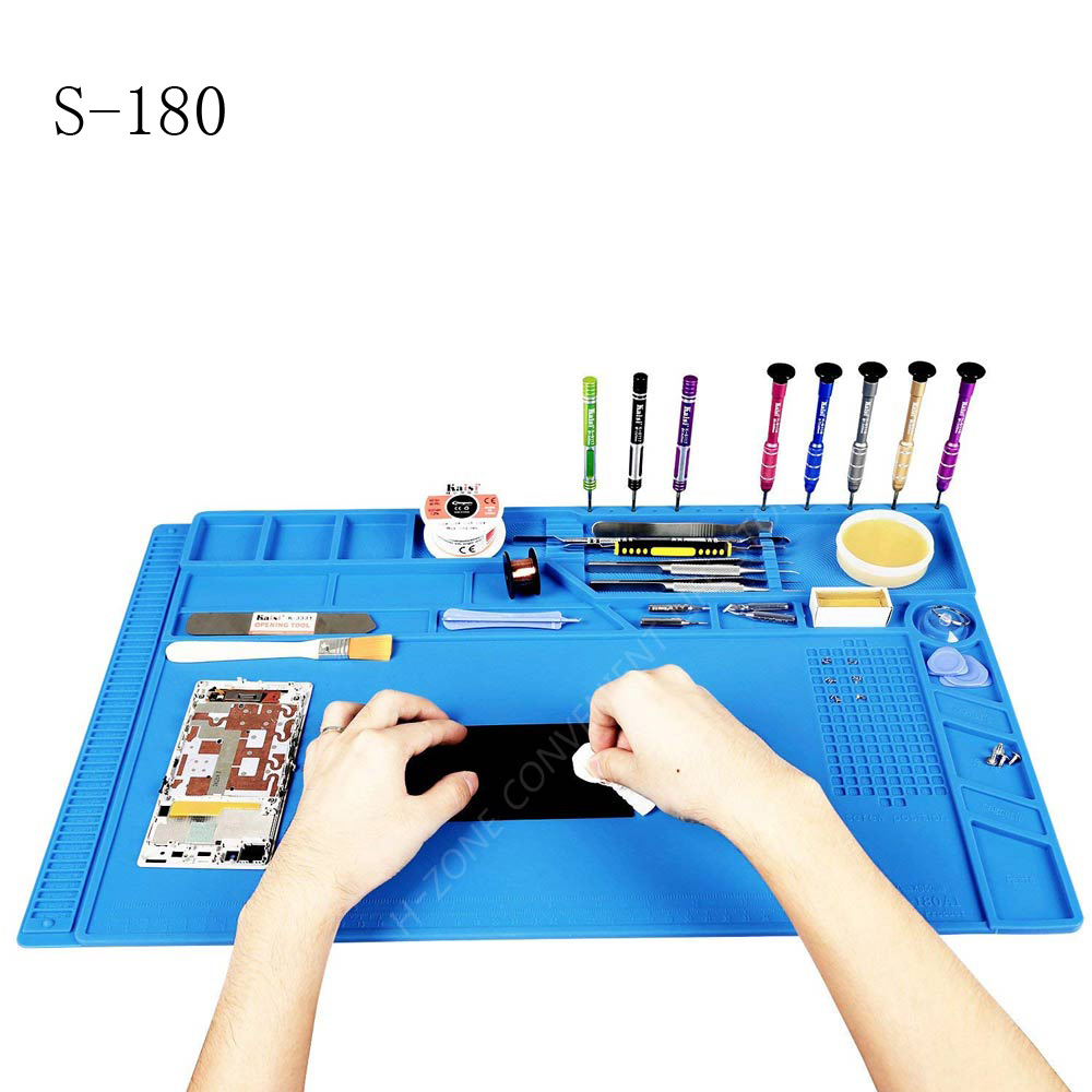 Big Size S-180 55*35 CM BGA Heat Insulation Silicone Soldering Pad Repair Maintenance Platform Desk Mat With Magnetic Section