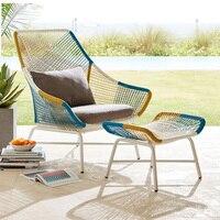 Уличный садовый диван PE стул Заведует Кафедрой диван из ротанга Крытый диван для отдыха Подушка губка педаль мебель