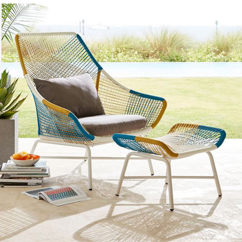 Outdoor Garden Sofa PE Rattan Chair Creative Chair Rattan Sofa Indoor Leisure Sofa Sponge Seat Cushion Pedal Outdoor Furniture