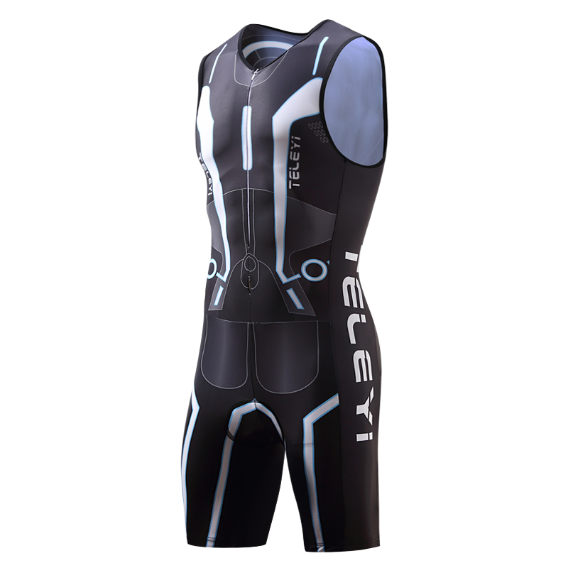 TELEYI Men Cycling Triathlon Suit sleeveless Bicycle Skinsuit Dress Male Bike Jersey Mallot Clothes Clothing Set Uniform Wear