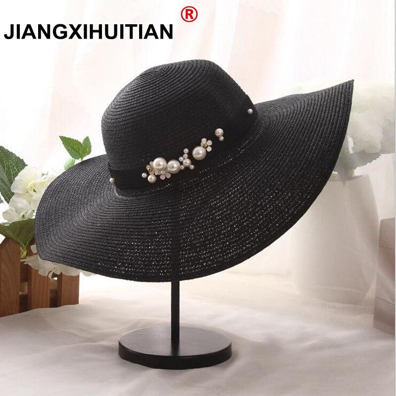 2017 di Modo di estate visiera piatta cappello di paglia perla borda fedore delle donne cappello di sole-ombreggiatura protezione solare jazz Panama cappello outdoor cappello della spiaggia