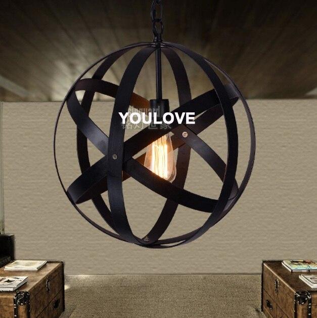 American Country Round Globe Droplight Nordic Industrial Vintage Pendant Lights Fixture Home Indoor Lighting Restaurant Lamps