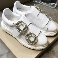 Crystal Embellished Buckle Pattern Woman Shoes White Leather Woman Sneakers Round Toe Low Top Platform Brand Star Woman Flats