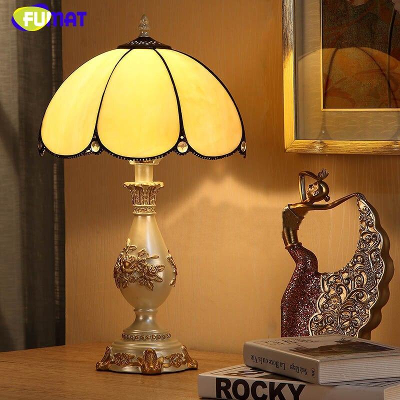 Us 166 64 10 Off Fumat Glastisch Lampen Moderne Kurze Tischlampen Glasmalerei Nachttischlampen Vintage Led Kreative Kunst Dimmer Tischlampe In Fumat