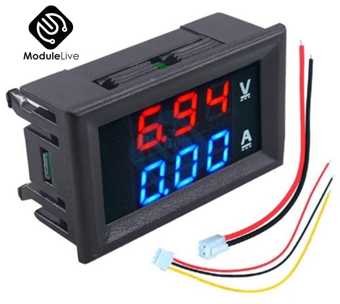 Цифровой мини-Вольтметр Амперметр постоянного тока 100 в 10 А 50 А панельный измеритель напряжения тока тестер 0,56 дюйма 0,56 дюйма синий красный ...
