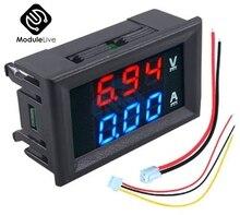 Цифровой мини-Вольтметр Амперметр постоянного тока 100 в 10 А/50 А панельный измеритель напряжения и тока тестер 0,56 дюйма 0,56 дюйма синий красны...