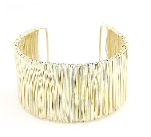 F&U Fashion Punky Style Hollow Cuff Retro DIY Braid Big Gold Bangles For Women vintage Multilayer Wide Bracelet Bangle#91944