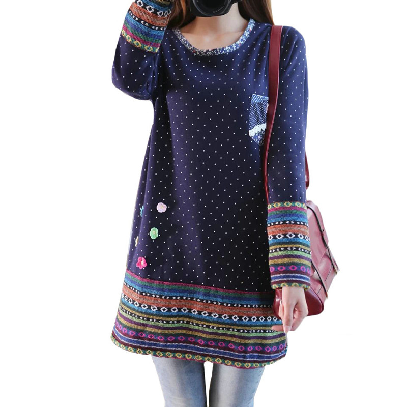 2017 Women Winter Vintage Fleece Dress O neck Long Sleeve Mori Girl Cute Dresses Polka Dot Printed Flower vestidos Plus Size