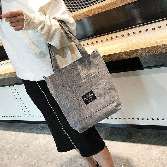 Women Corduroy Zipper Shoulder Bag Cotton Canvas Handbag  6