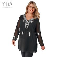 Yilia Fashion Brand T font b Shirt b font font b Women b font Autumn Embroidery