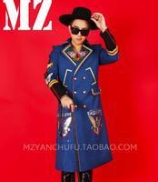 GD BIGBANG мужчины певцы долго Sytle Вышивка Орел костюмы DJ DS этап одежда Мужчины костюм Воротник Плащ мужской Slim носить!
