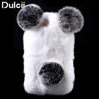 For IPhone 6 Plus 5 5 Inch Hard Bag Cute Panda Shape Warm Rabbit Fur Pearl