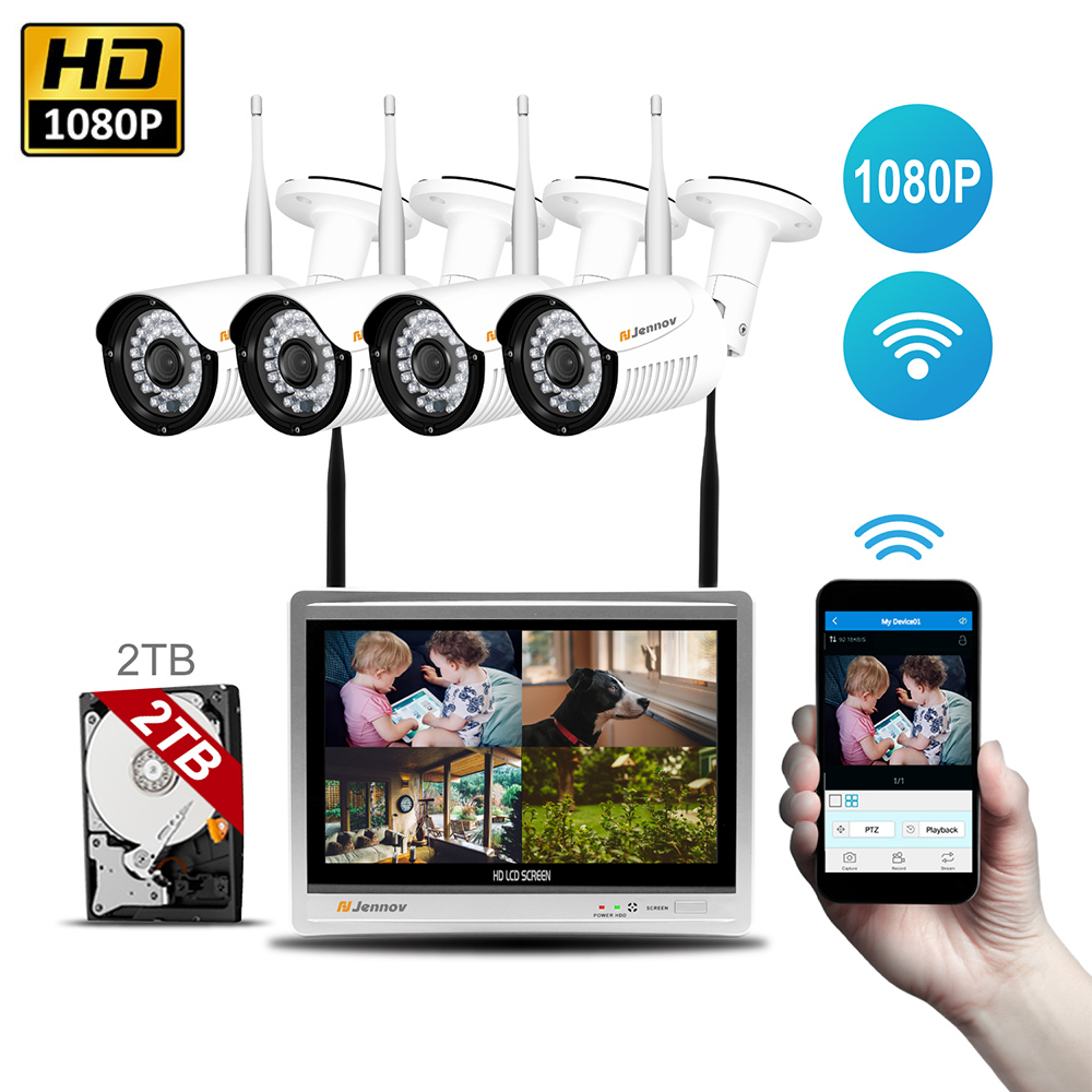 4CH 1080P 2MP Wireless Security CCTV IP Camera System WIth NVR 12 inch LCD Monitor Camara P2P wifi Home Video Surveillance Kits 4ch wireless nvr kit 13 lcd monitor screen waterproof 1080p 2mp security cctv ip camera wifi p2p video surveillance system set